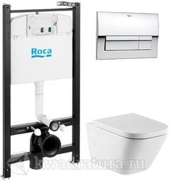 Система инсталляции Roca Active c унитазом Roca Gap подвесной, сиденьем микролифт, кнопка хром
