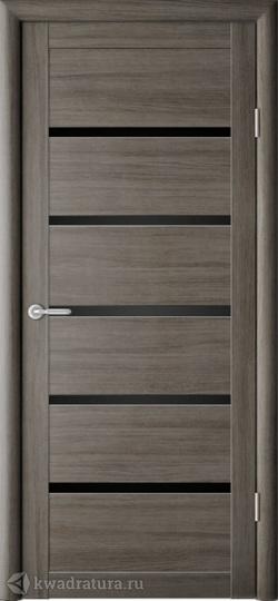 Межкомнатная дверь Фрегат (ALBERO) Вена серый кедр стекло черное