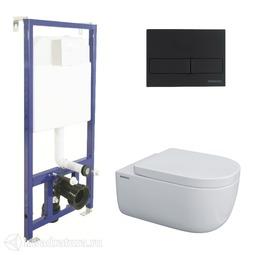 Система инсталляции BERGES NOVUM525, кнопка L5 Soft Touch черная, унитаз EGO XL Rimless, сиденье Toma SO 043234