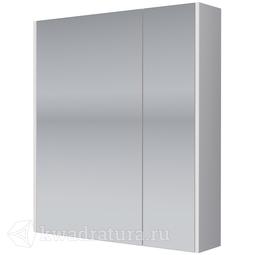 Зеркало-шкаф Dreja PRIME 60, 2 дверцы, 2 стеклянные полки, белый
