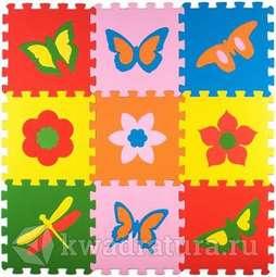 Мягкий пол ЭкоПром Бабочки 33*33 см (9 дет.)