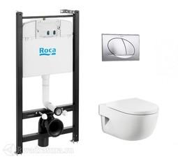 Система инсталляции Roca Active c унитазом Roca Meridian Compact подвесной, сиденьем микролифт, кнопка хром