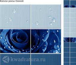 Стеновая панель ПВХ CronaPlast Unique Капли Росы Синие