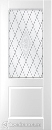 Межкомнатная дверь Румакс Ника 2 белая матовая, со ст сатинато гравировка