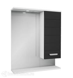 Зеркало PAOLA Таис 60 чёрный с подсветкой, шкаф справа