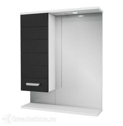 Зеркало PAOLA Таис 60 чёрный с подсветкой, шкаф слева