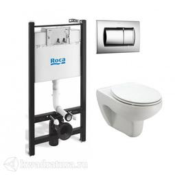 Система инсталляции Комплект 4 в 1: унитаз Roca Victoria подвесной c инсталяцией, сиденьем микролифт, кнопка хром