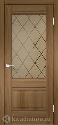 Межкомнатная дверь Velldoris (Веллдорис) ALTO 2V Орех золотой, стекло Ромб бронза
