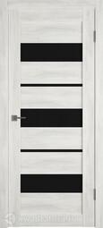 Межкомнатная дверь GreenLine Atum X-23 беленый дуб, лакобель черный