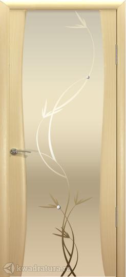 Межкомнатная дверь Океан Буревестник-2 с/о белое Растение Беленый Дуб в Новосибирске