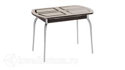Стол обеденный раздвижной со стеклом Рио (Венге/Стекло бежевое с рисунком) ТР