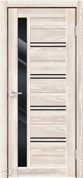 Дверь межкомнатная Velldoris (Веллдорис) XLINE 1 Клён Крем, стекло чёрное лакобель, без притвора