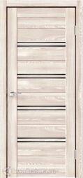 Дверь межкомнатная Velldoris (Веллдорис) XLINE 4 Клён Крем, стекло чёрное лакобель, без притвора