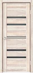 Дверь межкомнатная Velldoris (Веллдорис) XLINE 6 Клён Крем, стекло чёрное лакобель, без притвора