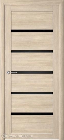Межкомнатная дверь Фрегат (ALBERO) Вена лиственница мокко, стекло черное