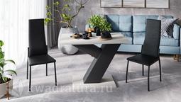 Стол обеденный Рейн Тип 1 (Фон черный/Каттхилт) ТР