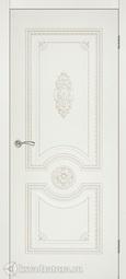 Межкомнатная дверь Румакс Ретро-декор ПГ ваниль, патина палладий