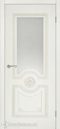 Межкомнатная дверь Румакс Ретро-декор ваниль, патина палладий, со стеклом