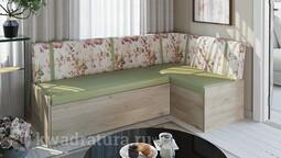 Скамья угловая со спальным местом «Париж» цветы зеленые ТР