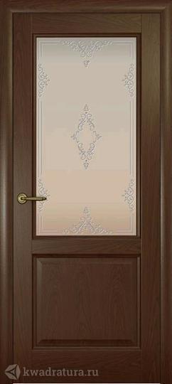 Межкомнатная дверь Океан Парма Дуб Шоколадный с/о белое Ажур