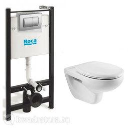 Система инсталляции Roca PRO с унитазом подвесным Roca Mateo с сиденьем микролифт и кнопкой смыва Dual 893100010