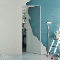Скрытая дверь Invisible Revers внутреннего открывания Invisible под покраску с алюминиевой матовой кромкой