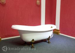 Каменная ванна Aqua de Marco Эдельвейс 170*82,7 белая с бронзовыми ножками