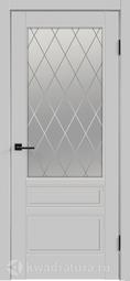 Межкомнатная дверь Velldoris (Веллдорис) SCANDI 3V ЛЕВАЯ/ПРАВАЯ светло-серый, стекло белое