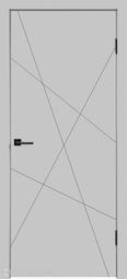 Межкомнатная дверь Velldoris (Веллдорис) SCANDI S Каркасно-щитовая дверь с фрезеровкой, светло-серый, глухое