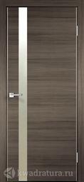 Межкомнатная дверь Velldoris (Веллдорис) TECHNO Z1 с замком, дуб серый поперечный, зеркало матовое, алюминиевая кромка