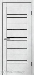Дверь межкомнатная Сибирь Профиль Barn B2 бетон светлый СТ лакобель черное