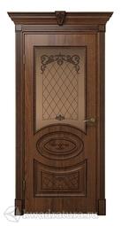 Межкомнатная дверь ДвериХолл Вителия Экошпон Дуб Янтарный, со стеклом