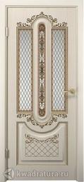 Межкомнатная дверь ДвериХолл Олимпия Экошпон Белое Дерево, со стеклом